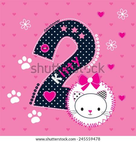 cute cat birthday card heart background vector illustration - stock vector