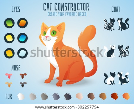 Cute cat breed constructor. You can create your own kitten breed. Change color, eyes, noses, types of coat. Vector illustration - stock vector