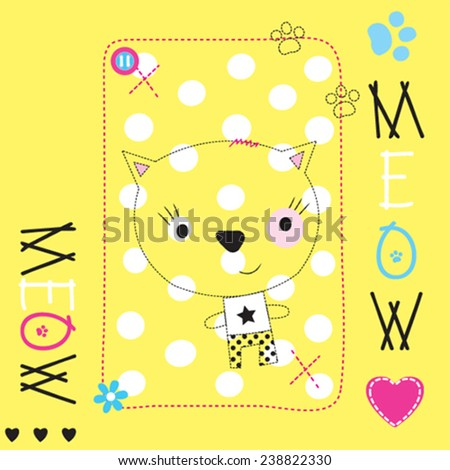 cute cat card vector illustration - stock vector