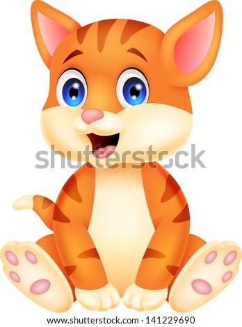 Cute cat cartoon - stock vector