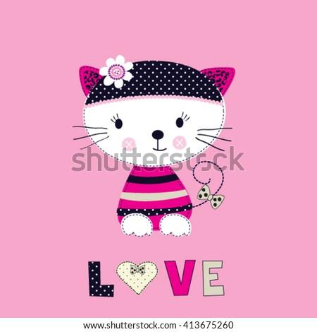 cute cat cartoon, love card, childish pattern, T-shirt design for kids vector illustration - stock vector