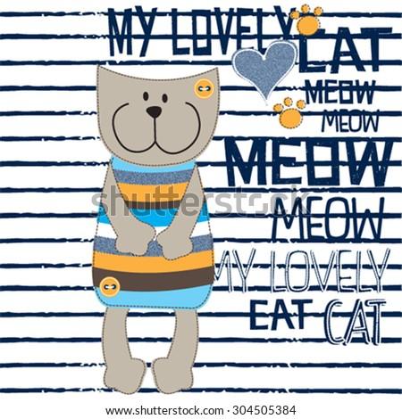 cute cat cartoon on striped background vector illustration - stock vector