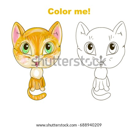 cute cat coloring page stock vector 688940209 shutterstock