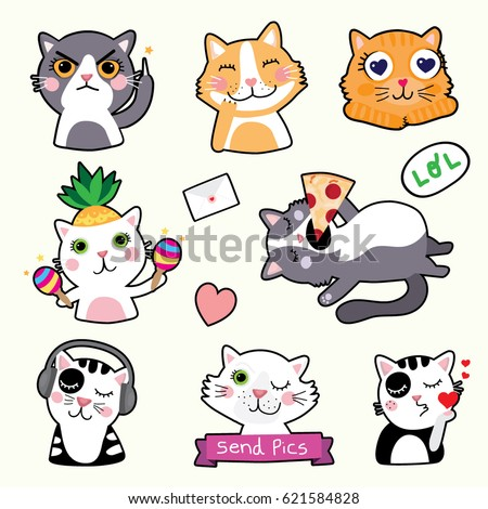 Cute Cat Emoticons Stickers Vector Stock Vector 621584828 ...