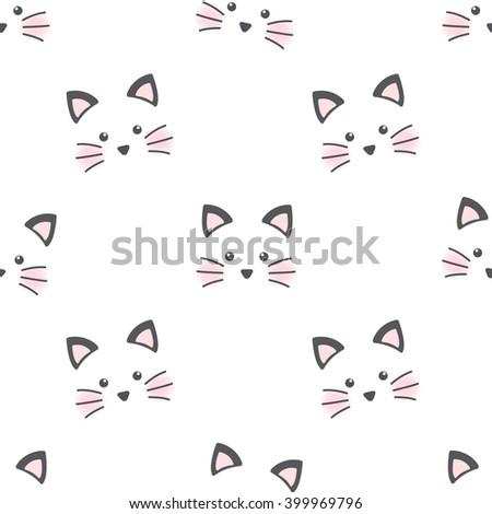 cute cat face seamless wallpaper stock vector 399969796