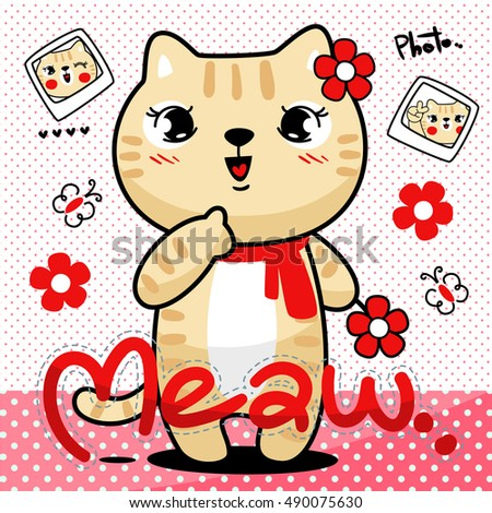 Cute cat girl wearing a red scarf is holding a flower on polka dot background illustration vector.