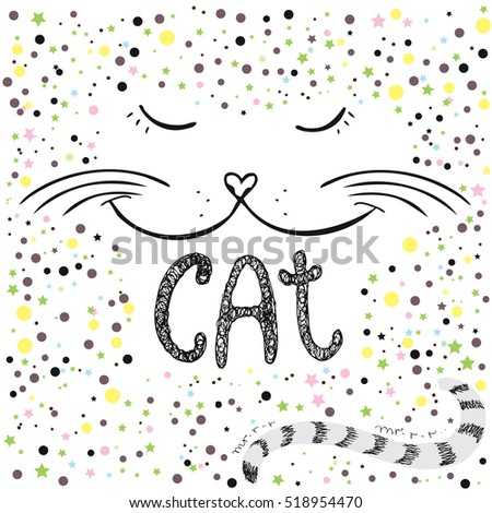 Cute cat, Hand drawn  T-shirt design or greeting card,vector illustration