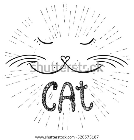 Cute cat, Hand drawn T-shirt design or greeting card,vector illustration.