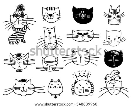 Cute cat heads set in hand drawn. Pet animal vector illustration - stock vector