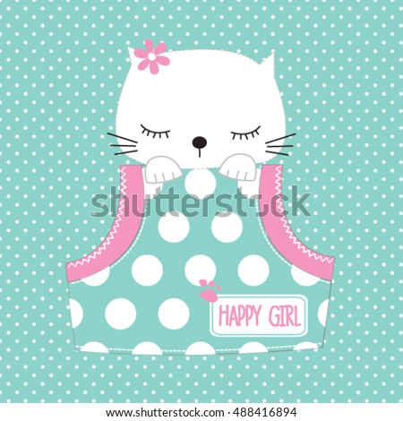 cute cat in the pocket on polka dots background, T-shirt graphics for girls vector illustration
