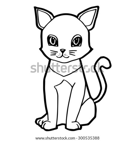 cute cat isolated on white vector - stock vector
