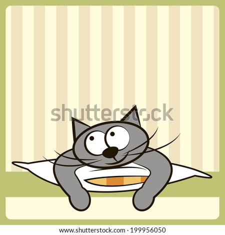 Cute cat on the pillow - stock vector