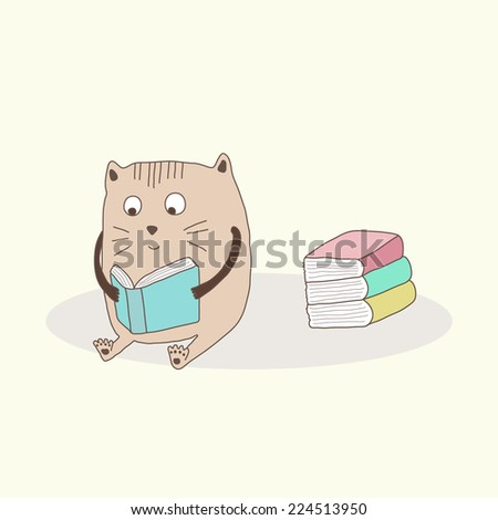 Cute cat reading books, vector illustration - stock vector