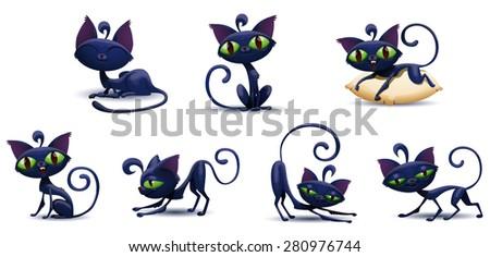 Cute cat set, vector - stock vector