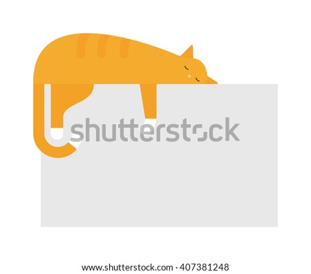 Cute cat sleeping on platform house feline domestic young adorable kitten cartoon vector illustration. Relax cat sleeping and small red cat sleeping. Orange funny cat sleeping domestic pet. - stock vector