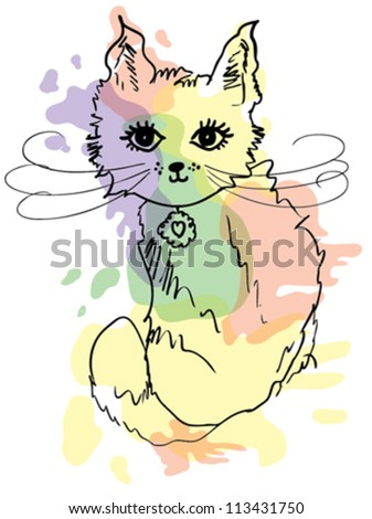 cute cat / T-shirt graphics / cute cartoon characters / cute graphics for kids / Book illustrations - stock vector