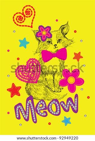 Cute Cat / T-shirt graphics / cute cartoon characters / cute graphics for kids / Book illustrations - stock vector