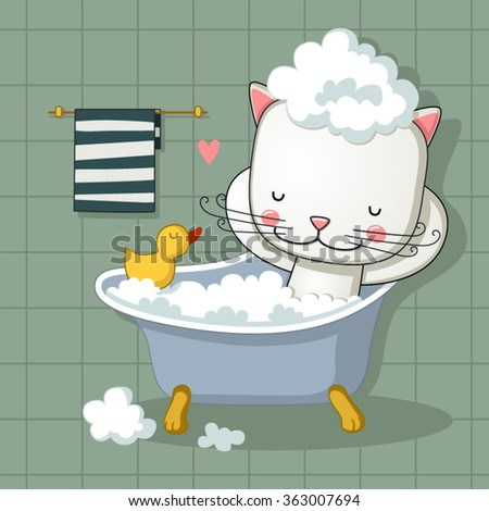Cute cat taking a bath - stock vector