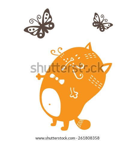 cute cat. vector colorful illustration of  cute cat silhouette and  butterflies for vinyl stickers - stock vector
