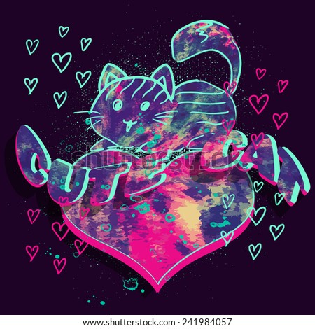 Cute cat. Vector watercolor print for girl t shirt with heart