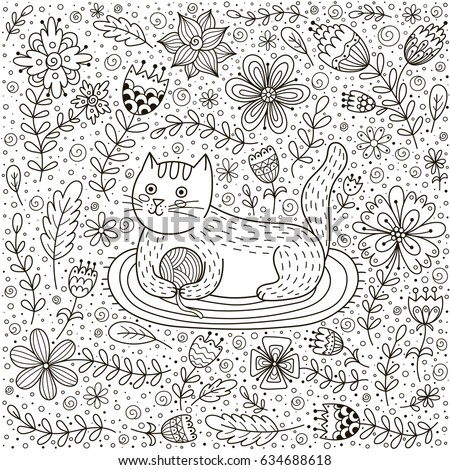 Cute Cat Ball Yarn Doodle Flowers Stock Vector 634688618 ...