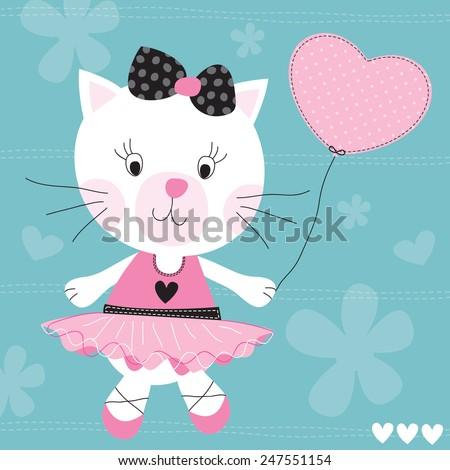 cute cat with balloon vector illustration - stock vector
