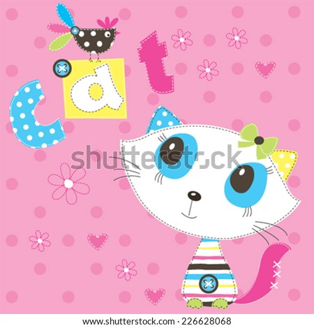 cute cat with bird vector illustration - stock vector