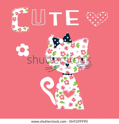 cute cat with flowers, T-shirt design vector illustration - stock vector