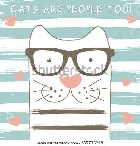 Cute cat with glasses. Grunge effect can be edited or removed. Vector EPS10 illustration.  - stock vector