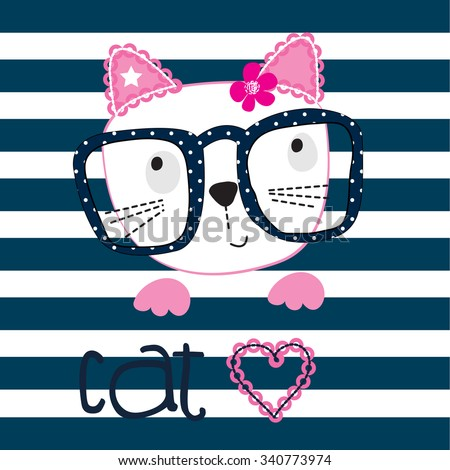 cute cat with glasses on striped background vector illustration - stock vector
