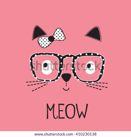 cute cat  with glasses, T-shirt design for girls vector illustration - stock vector