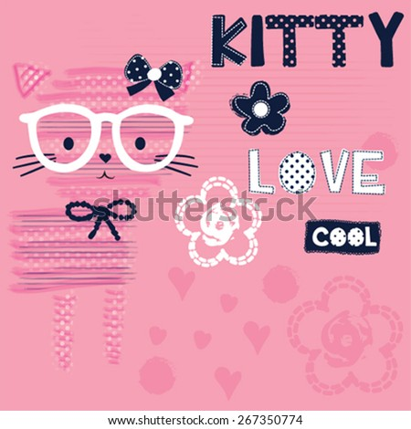 cute cat with glasses, T-shirt design vector illustration - stock vector