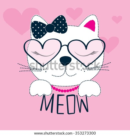 cute cat with glasses vector illustration - stock vector