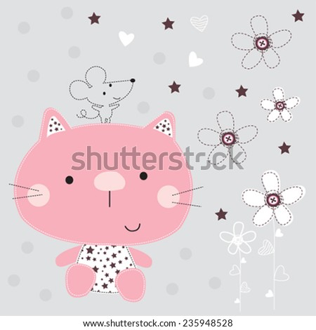cute cat with mouse vector illustration - stock vector