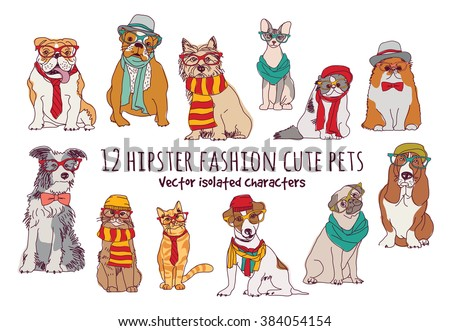Cute cats and dogs fashion hipster isolated pets.  Color vector illustration. EPS8 - stock vector