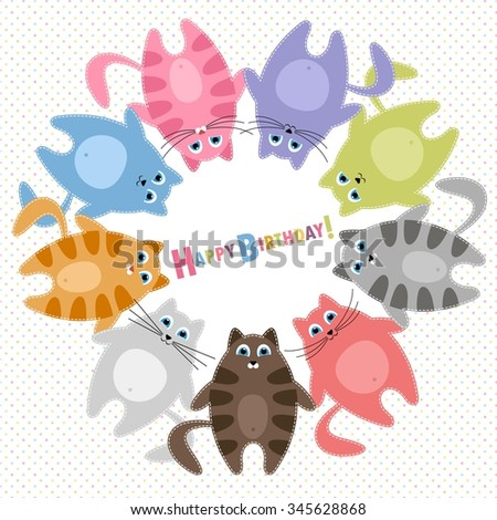 Cute cats Birthday card - stock vector