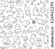 cute cats pet seamless icons ...