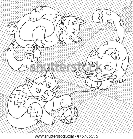 Cute Cats Playing Clew On Striped Stock Vector HD (Royalty Free ...