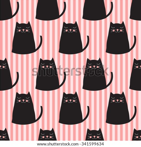 cute cats seamless pattern - stock vector