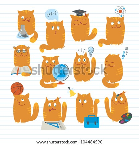 Cute Cats Studing School Subjects - stock vector