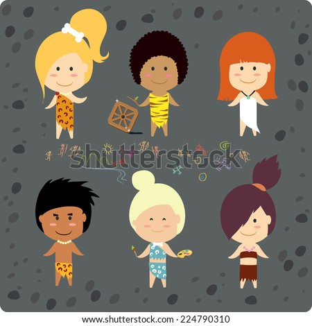 Cute cave people - stock vector