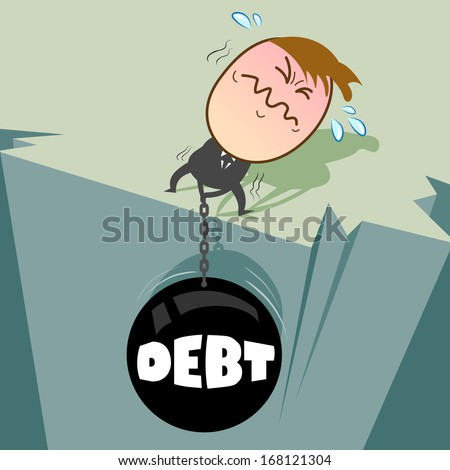Cute character businessman has many debt, it's mean Pull debt ball Up from the abyss in order to survive./ Chains of debt is pull by young businessman / - - stock vector