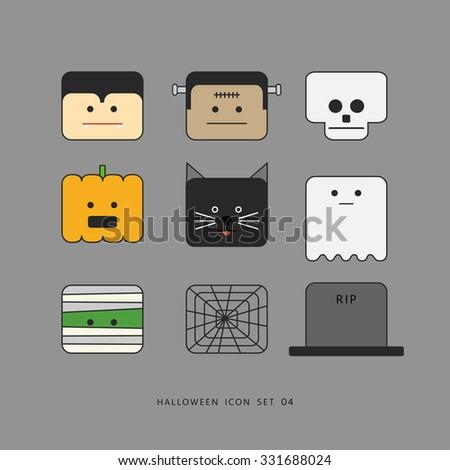 cute character icons set for halloween festival, minimal design vector illustration. - stock vector