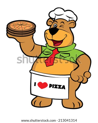 Cute character mascot bear as pizza chef holding a pizza slice, vector - stock vector