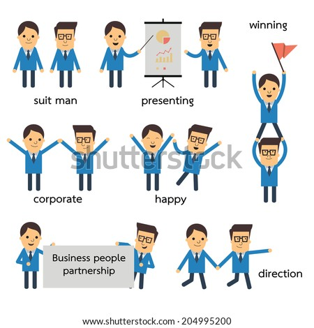 Cute character of business people in suit man, partnership and teamwork concept. There are more character set in my portfolio. - stock vector