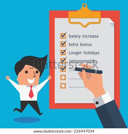 Cute character of happy businessman jumping and raising hands beside clipboard with check list. - stock vector