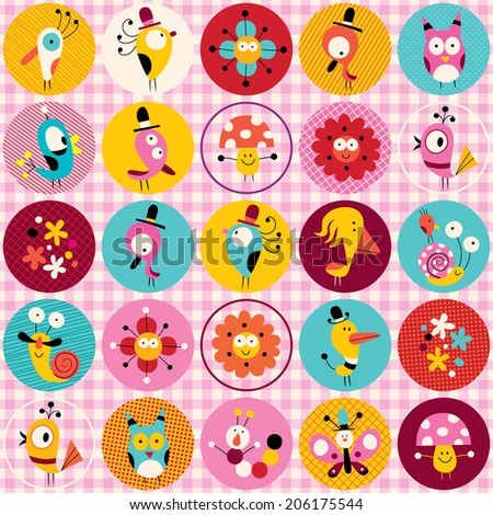 cute characters animals flowers circles nature pattern - stock vector