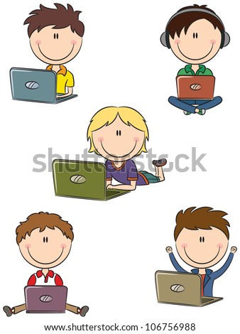 Cute cheerful boys with laptops sitting in different poses - stock vector
