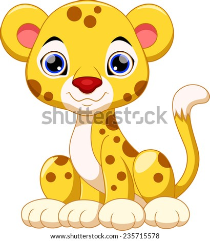 Cute cheetah cartoon - stock vector