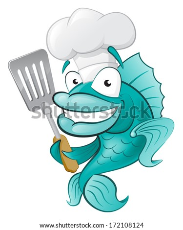 Cute Chef Fish with Spatula. Great illustration of a Cute Cartoon Cod Fish Chef holding a Frying Spatula. - stock vector